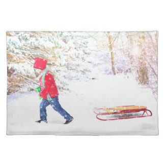 Snow winter sled boy christmas holidays placemat