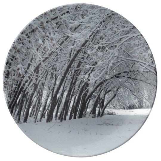 Snow Winter Trees Decorative Porcelain Plate