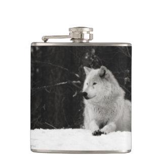 Snow Wolf Hip Flask