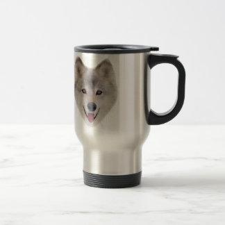 Snow Wolf Sketch Travel Mug