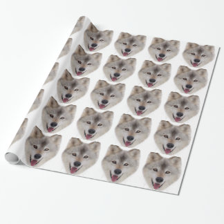 Snow Wolf Sketch Wrapping Paper
