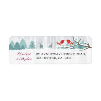 Snow Wonderland Birds Deer Winter Wedding Address