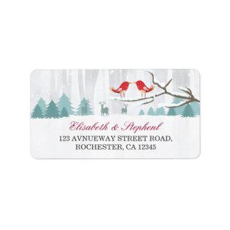 Snow Wonderland Birds Deer Winter Wedding Address Label