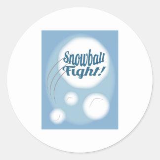 Snowball Fight Round Sticker