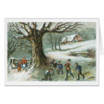 Snowball Fight Vintage Victorian Christmas Cards