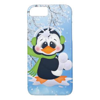 Snowball fighting Christmas penguin seven case