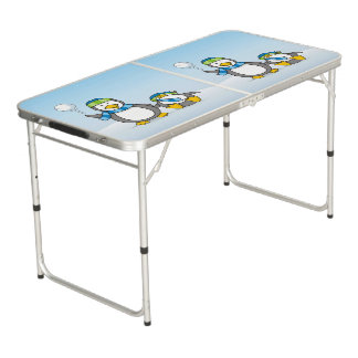Snowballing penguins beer pong table