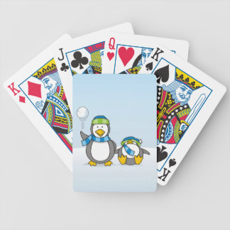 Snowballing penguins bicycle playing cards