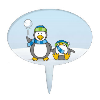 Snowballing penguins cake pick
