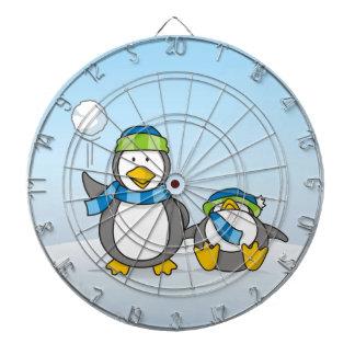 Snowballing penguins dartboard