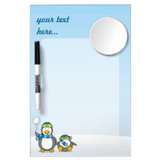 Snowballing penguins dry erase board with mirror