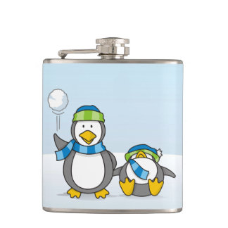 Snowballing penguins hip flask