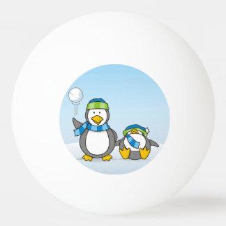 Snowballing penguins ping pong ball