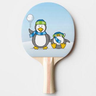 Snowballing penguins ping pong paddle