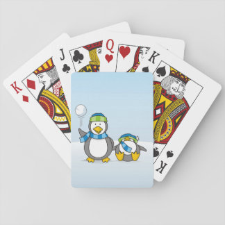 Snowballing penguins playing cards