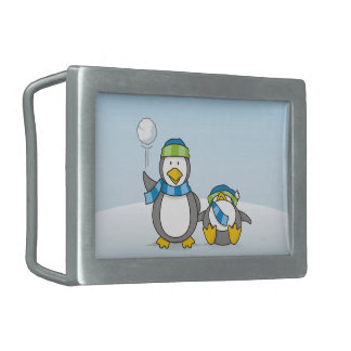 Snowballing penguins rectangular belt buckles