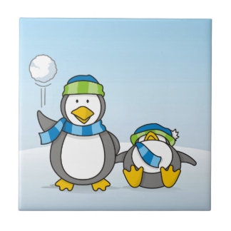 Snowballing penguins small square tile