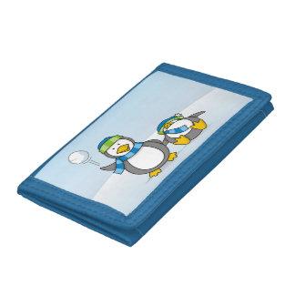 Snowballing penguins trifold wallet