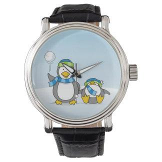 Snowballing penguins wristwatch