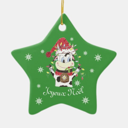 Snowbell the cow green star Christmas ornament