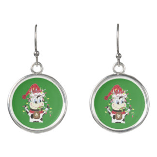 Snowbell the cow & Xmas lights drop earrings