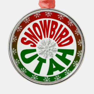 Snowbird Utah red green snowflake ornament