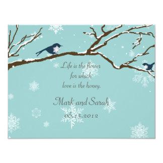 Snowbirds and Snowflakes Robin Blue RSVP 11 Cm X 14 Cm Invitation Card