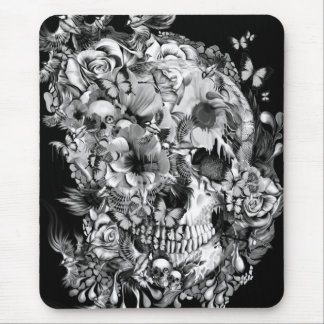 Snowbirds, skull made of birds and flowers mousepad
