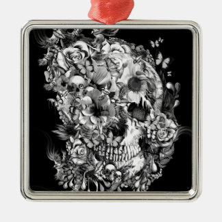 Snowbirds, skull made of birds and flowers Silver-Colored square decoration