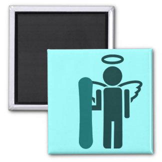 snowboard angel square magnet