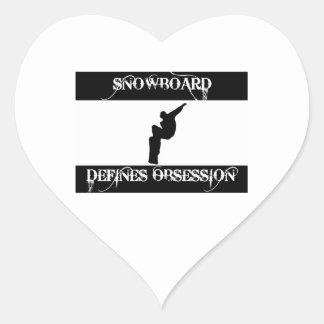 snowboard design heart sticker
