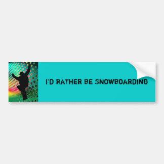 Snowboard in Cosmic Snowstorm Bumper Stickers