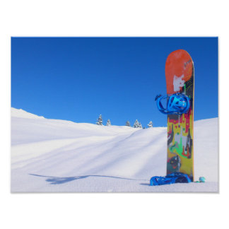 Snowboard in Fresh Snow, Blue Sky Poster