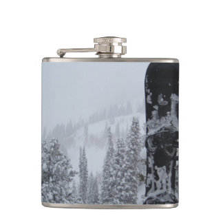 Snowboard In Snow Flask