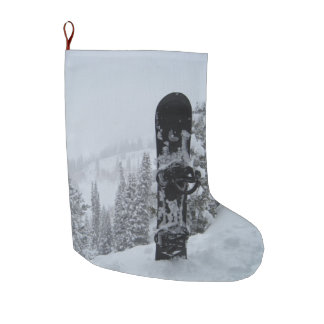 Snowboard In Snow Large Christmas Stocking