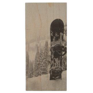 Snowboard In Snow Wood USB 2.0 Flash Drive