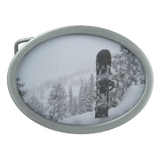 Snowboard In Snow Oval Belt Buckle