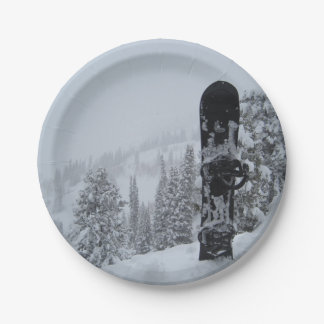 Snowboard In Snow Paper Plate