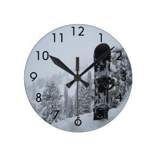 Snowboard In Snow Round Clock