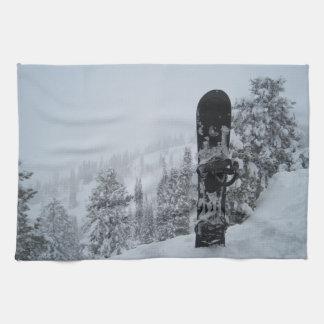 Snowboard In Snow Tea Towel