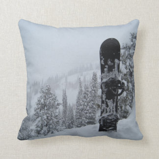 Snowboard In Snow Throw Pillow