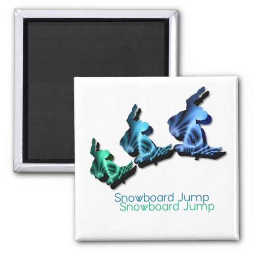 Snowboard Jumps Square Magnet Magnets