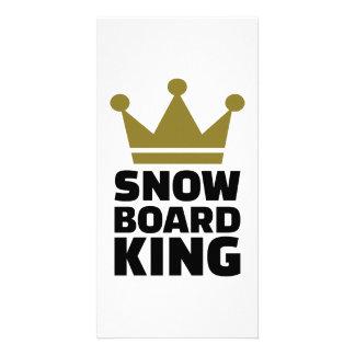 Snowboard king champion customized photo card