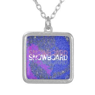 SNOWBOARD SQUARE PENDANT NECKLACE