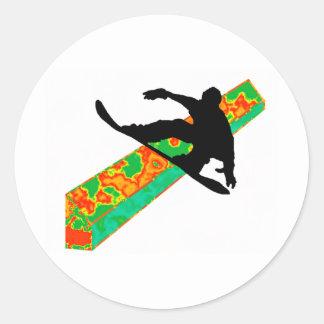 snowboard next slide round sticker