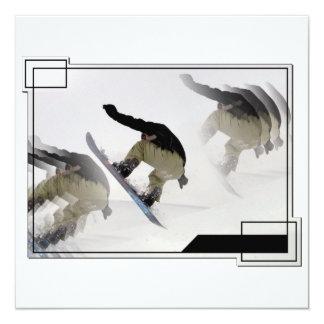 Snowboard Rails Invitaiton 5.25x5.25 Square Paper Invitation Card