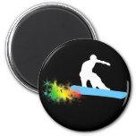 snowboard. rainbow. magnets