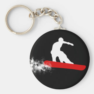 snowboard. red. basic round button key ring