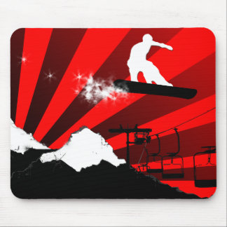 snowboard. red. mouse mat
