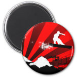 snowboard. red rays. 6 cm round magnet
